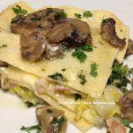 Lasagne con funghi e stracciatella